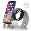 3-in-1 Holder / Docking Station for iPhone, AirPods, Apple Watch - Silver / White