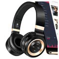 3 in 1 Foldable Mega Bass Bluetooth Stereo Headset P6 - Black / Gold