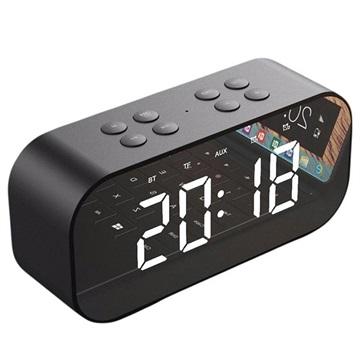 AEC BT501 Bluetooth Speaker with LED Alarm Clock - Black