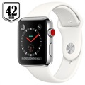 Apple Watch Series 3 LTE MQLY2ZD/A - Stainless Steel, Sport Band, 42mm, 16GB - Silver/White