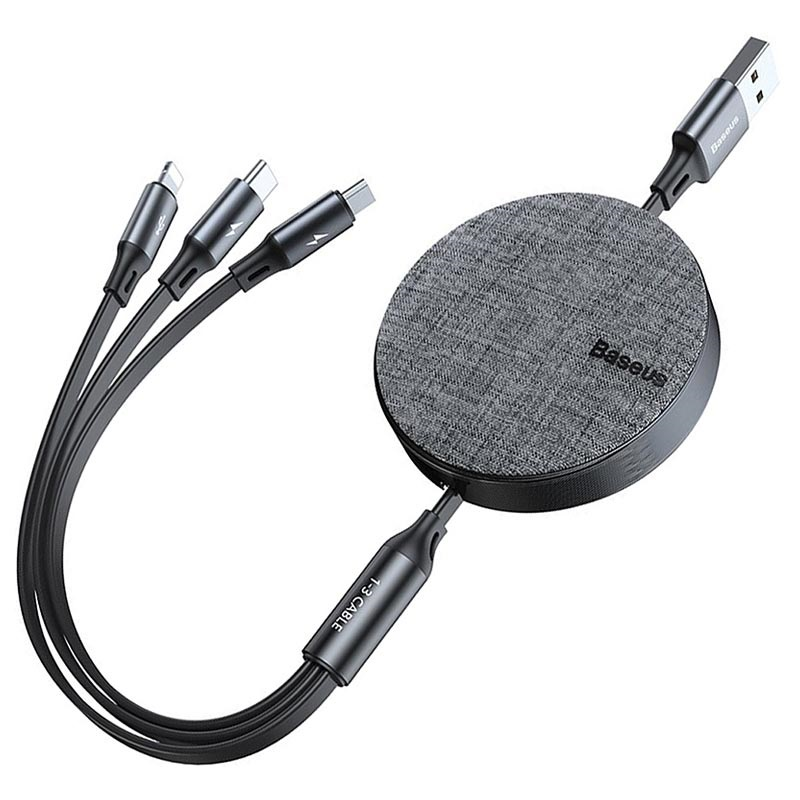 Baseus 3-in-1 Retractable USB Cable - 1.2m