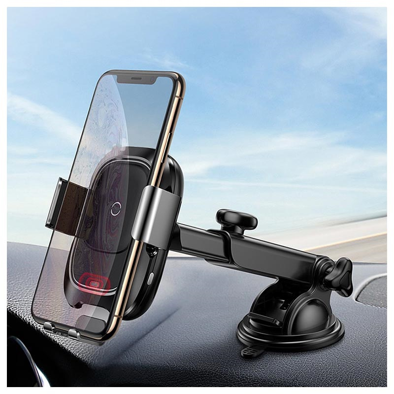 Baseus Intelligent Qi Wireless Car Charger / Car Holder - Black