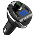 Bluetooth FM Transmitter with Dual USB Car Charger T20 - Black
