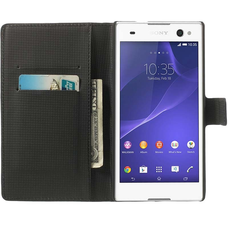 Sony xperia c3 xperia c3 dual butterfly wallet leather case black reheart Gallery