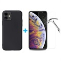 iPhone 11 Case w/ 2x Tempered Glass Screen Protector - Black