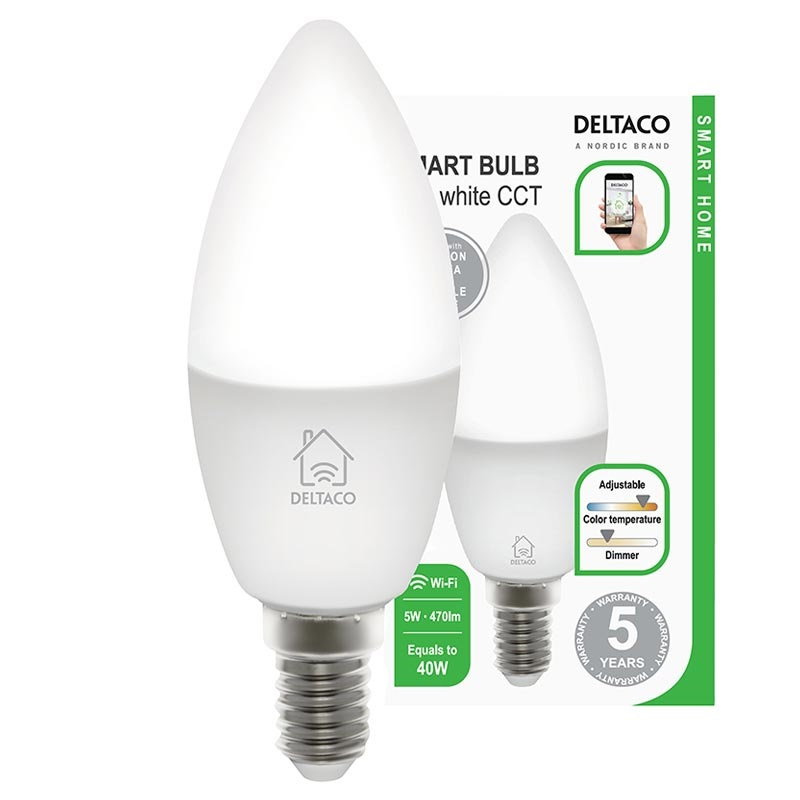 Deltaco SH LE14W WiFi Smart LED Bulb 5W White
