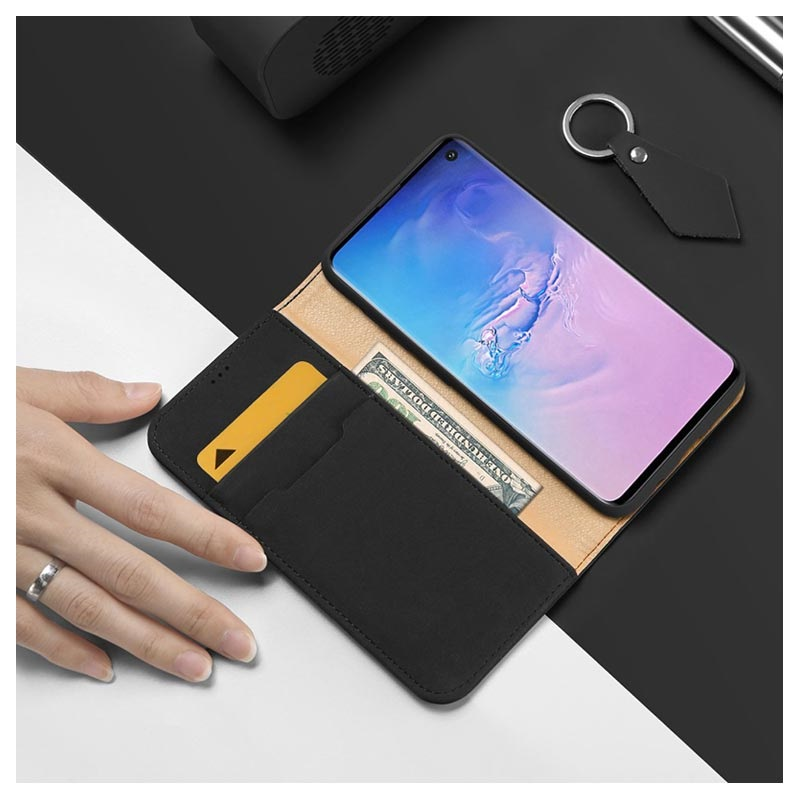 Dux Ducis Wish Samsung Galaxy S10 Wallet Leather Case - Black