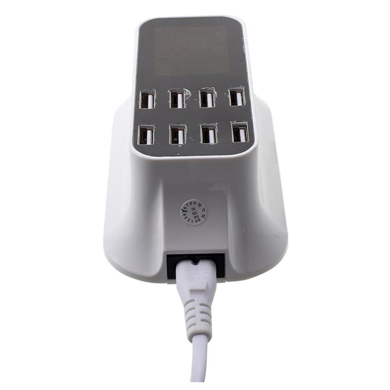 Fast Charging 8-Port USB Desktop Charger with LED Monitor - White