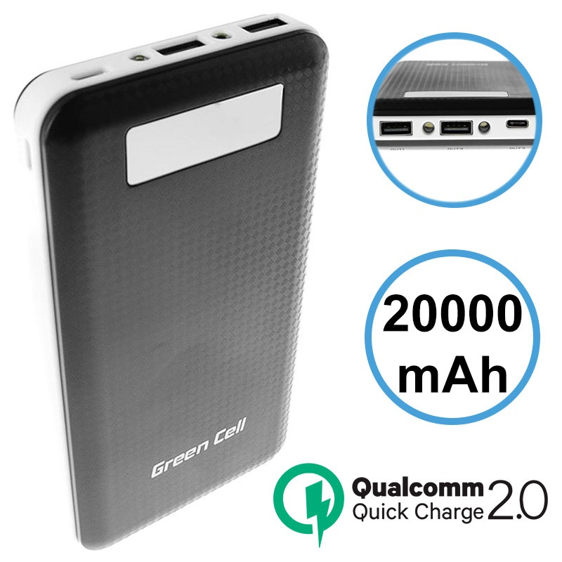 Green Cell PB93 Qualcomm QC 2 0 Power Bank - 20000mAh