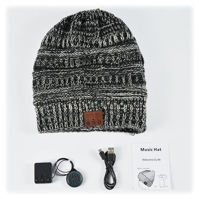 Knitted Beanie Hat Bluetooth 5.0 Headset - Grey