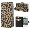 iPhone 4 / 4S Wallet Leather Case - Leopard - Brown