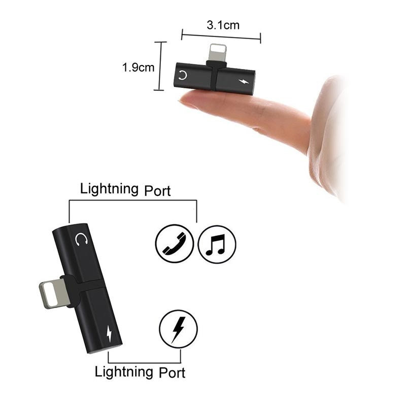 Mini T-Shape 2-in-1 Lightning Adapter - iPhone XS Max/XS/XR