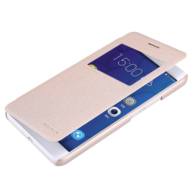 ... Honor 6X Nillkin Sparkle Series Smart View Flip Leather Case - Gold