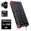 Outxe Savage 10000mAh Waterproof Solar Charger / Power Bank - Black / Red