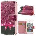 iPhone 4 / 4S Wallet Case with Stand Feature - Pink Leopard