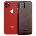 iPhone 11 Pro Max Pierre Cardin Leather Coated Case - Coffee