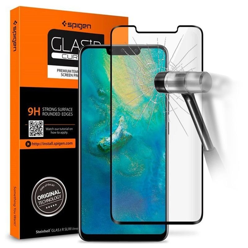 quality design fc1d0 4b898 Spigen Glas.tR Curved Huawei Mate 20 Pro Screen Protector - Black