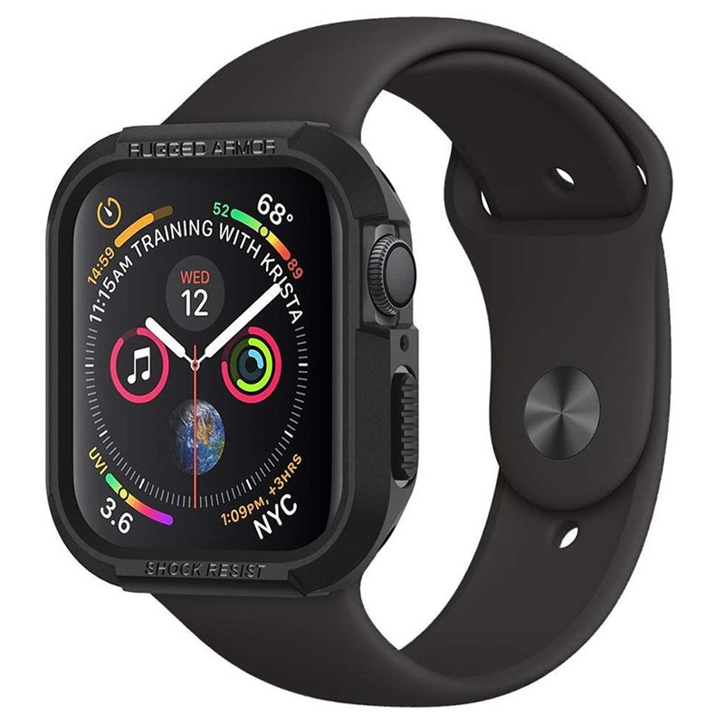 official photos 58abb f8c7f Spigen Rugged Armor Apple Watch Series 4 TPU Case - 40mm - Black