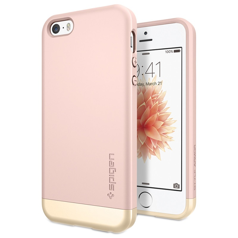 iphone 5 5s se spigen style armor case rose gold. Black Bedroom Furniture Sets. Home Design Ideas