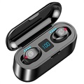 TWS F9 In-Ear Headphones with Charging Case - IPX4 - Black