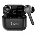TWS A6 Wireless Earphones with LED Charging Case - Black