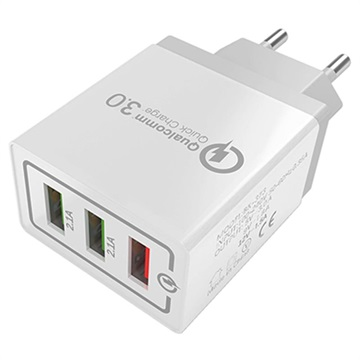 Universal 3-Port Fast USB Travel Charger with QC3.0 - 18W - White / Grey