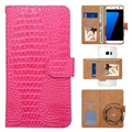 Universal 360-degree Rotating Wallet Case - Crocodile Pink
