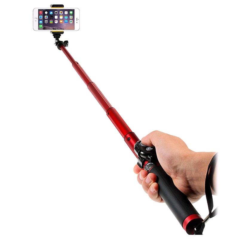 universal extendable selfie stick bluetooth camera shutter h611 red. Black Bedroom Furniture Sets. Home Design Ideas