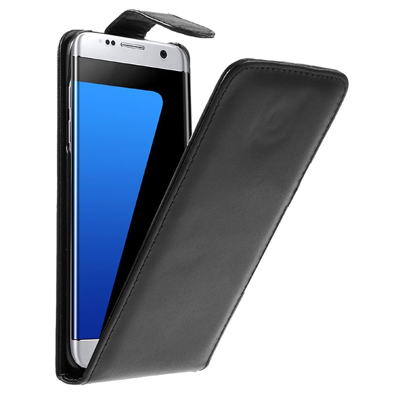 Samsung Galaxy S7 Edge Vertical Flip Case  Black