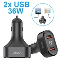 Vinsic VSCC208 Qualcomm Quick Charge 3.0 Car Charger - 2x USB, 6A, 36W