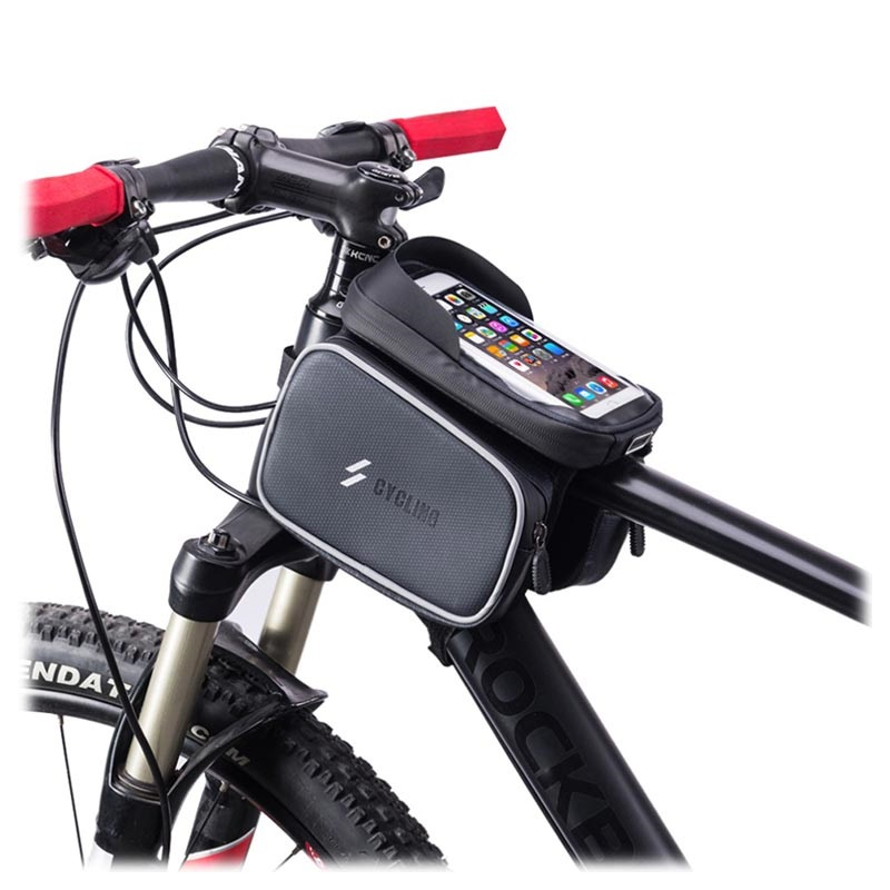 Waterproof Bicycle Bag with Detachable Smartphone Pouch SZ-009 - Black