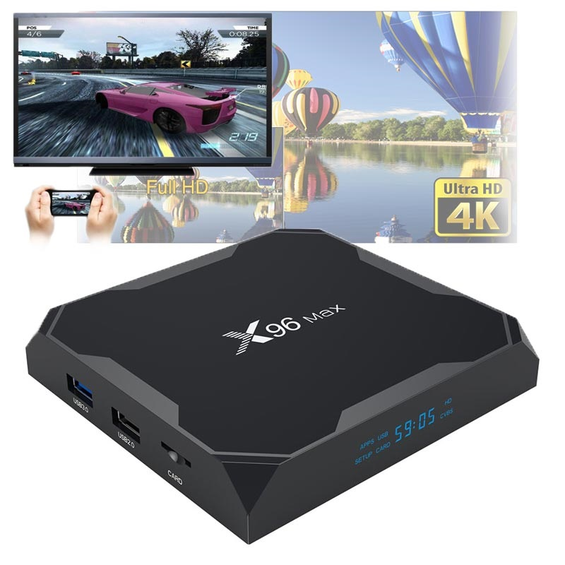 X96 Max 4K UHD Android 8 1 TV Box with 4GB RAM, 32GB ROM