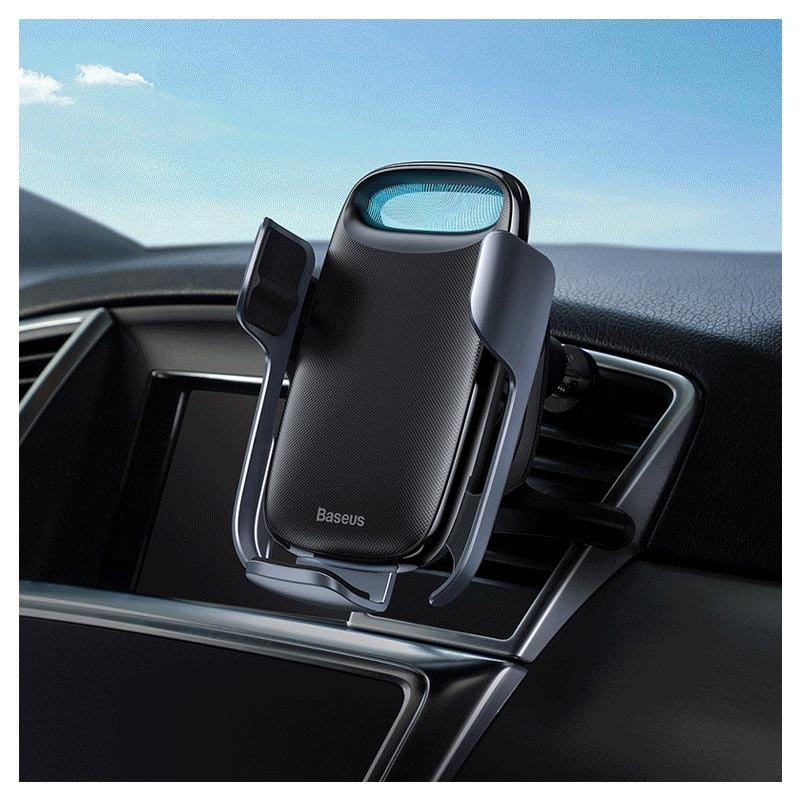 Baseus Milky Way Air Vent Car Holder / Qi Wireless Charger - Black