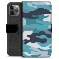 iPhone 11 Pro Max Premium Wallet Case - Blue Camouflage