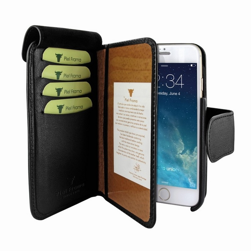 iphone 6 6s piel frama swaro wallet leather case black. Black Bedroom Furniture Sets. Home Design Ideas