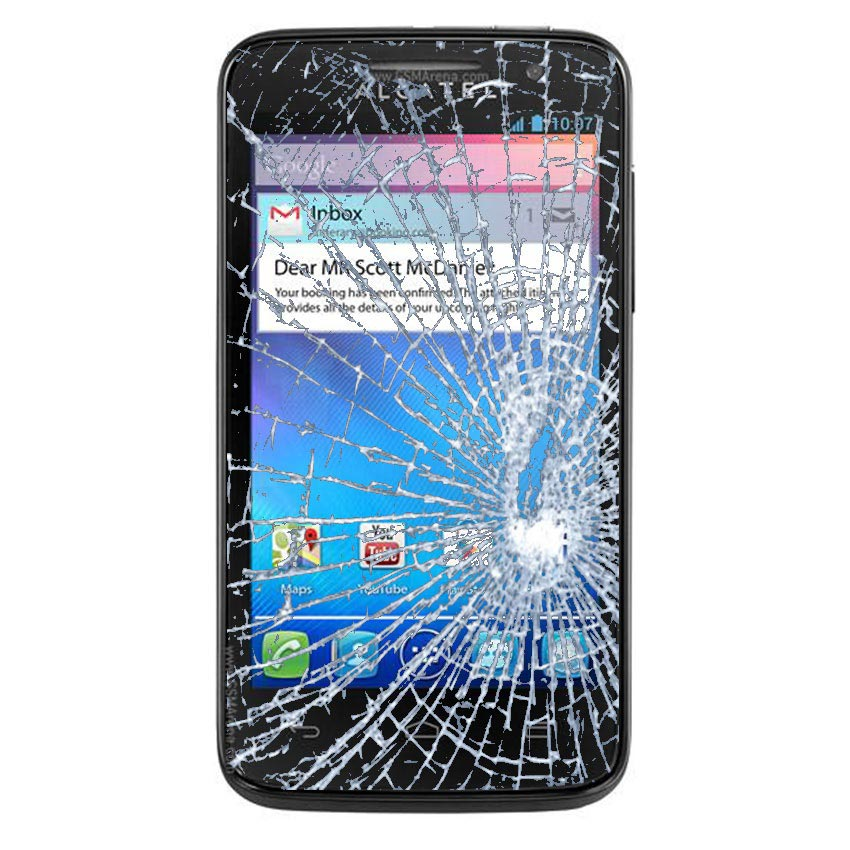Display Glass & Touch Screen Repair for Alcatel One Touch M'Pop - Black