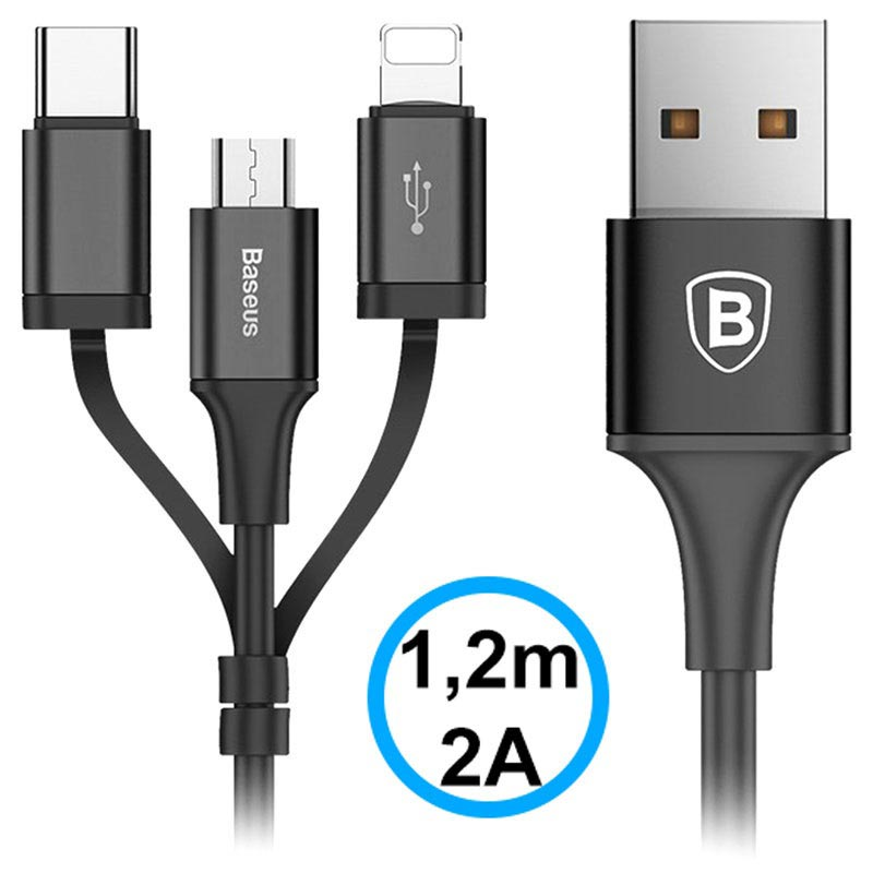Baseus 3-in-1 USB Cable - Lightning, Type-C, MicroUSB