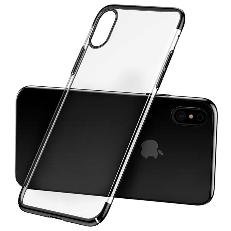 iPhone X Baseus Glitter Series Plastic Cover - Black / Transparent