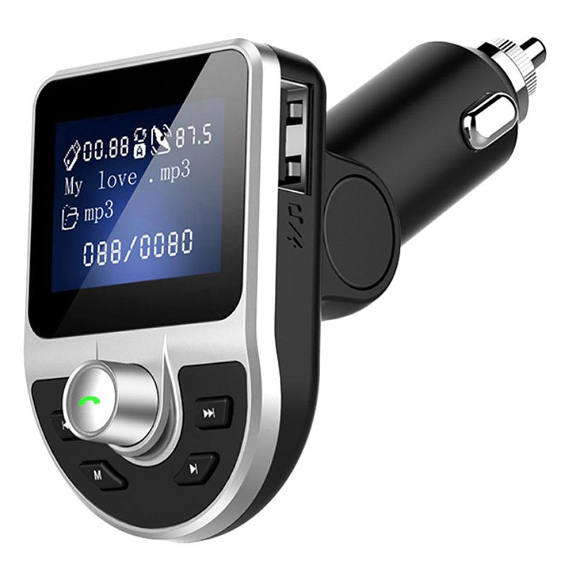 dual usb car charger bluetooth fm transmitter bt39 black. Black Bedroom Furniture Sets. Home Design Ideas