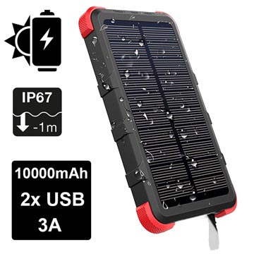 separation shoes 85429 18c27 Outxe Savage 10000mAh Waterproof Solar Charger / Power Bank - Black / Red