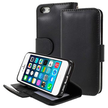 iPhone 5/5S/SE Premium Wallet Case with Stand Feature - Black