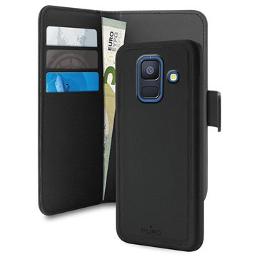 in stock 490d1 9a097 Puro 2-in-1 Magnetic Samsung Galaxy A6 (2018) Wallet Case - Black