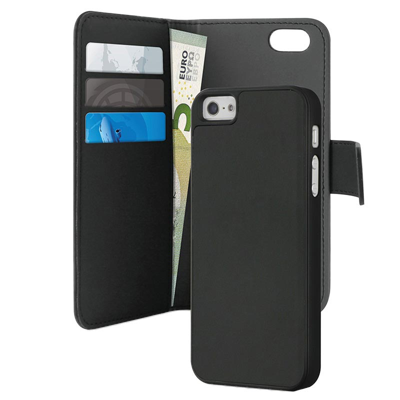 new style 09575 aed78 iPhone 5 / 5S / SE Puro Magnetic Wallet Case - Black