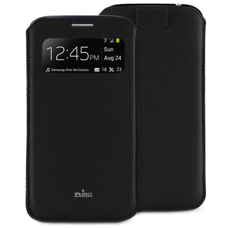 the latest f337c 82987 Puro View Leather Case for Samsung Galaxy S4 i9500, i9502, i9505 - Black