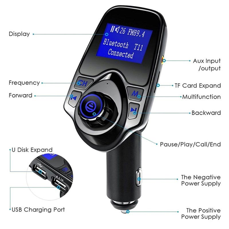 T11 Bluetooth FM Transmitter & Car Charger