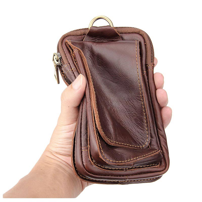 Universal Double Pocket Holster Leather Case - Brown